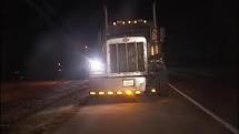 Even on a big rig semi, a deer collision can cause considerable damage.